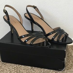 Ann Taylor Black Strappy Kitten Heel. 9.5